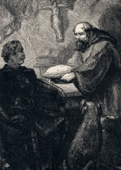 The Black Knight and Friar Tuck enjoy some delicious pie