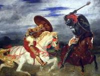 """""""Combat de chevaliers dans la campagne"""" by Eugène Delacroix"""